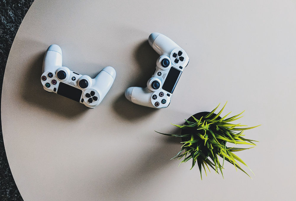 Gaming controllers on a white table